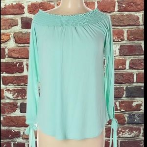 MY BELOVED AQUA BLUE BOAT NECK WOMENS TOP BLOUSE
